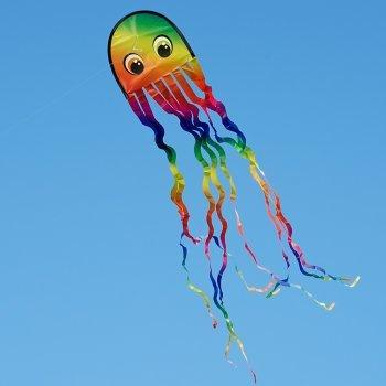 Oktopus Drachen - Krake DRAKI RAINBOW - Einleiner für Kinder ab 3 Jahren - Abmessung: 25x160cm - inkl. Drachenschnur