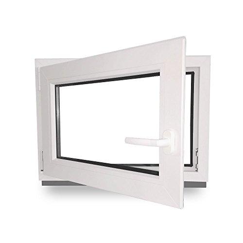 Kellerfenster - Kunststoff - Fenster - weiß - BxH: 50 x 40 cm - DIN links- 2-fach-Verglasung - Wunschmaße ohne Aufpreis - Lagerware