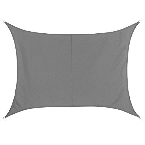BB Sport Sonnensegel rechteckig 3m x 4m wetterbeständig wasserabweisend Sonnenschutz 100% PES Sichtschutz Windschutz Tarp, Granit