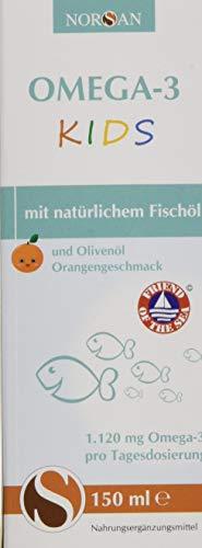 Omega-3 KIDS Öl mit Orangengeschmack I NORSAN I flüssiges Omega-3 Öl für Kinder I 150 ml Flasche I 1.120 mg Omega-3 pro Portion