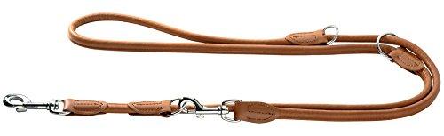 HUNTER Round und Soft Elk Verstellbare Führleine für Hunde, Leder, weich, rund, 1,0 x 200 cm, cognac
