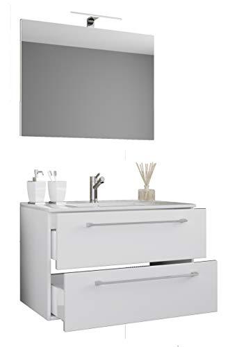 VCM 3-TLG. Waschplatz Badmöbel Badezimmer Set Waschtisch Waschbecken Schubladen Keramik Badinos Spiegel Weiß
