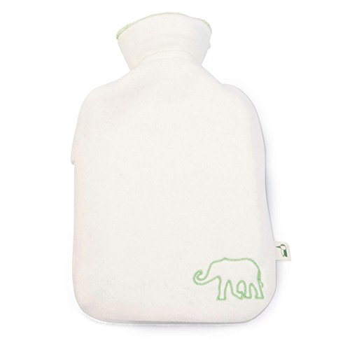 GRÜNSPECHT 640-00 Bio-Kinder-Wärmflasche mit Baumwoll-Fleece-Bezug | 0,8l |  wollweiß, grüne Elefanten-Stickerei