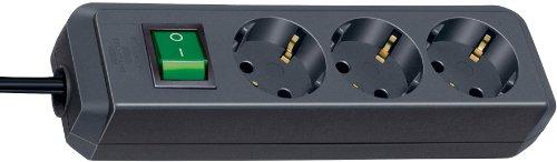Brennenstuhl Eco-Line, Steckdosenleiste 3-fach (mit Schalter und 3m Kabel - besonders stromsparend) Farbe: schwarz