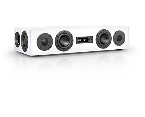 Nubert nuPro AS-250 Aktive Soundbar/TV-Lautsprecher 2.5-Wege (4X 12cm Tieftöner,2X 2.5cm Hochtöner,2X 80/100 Watt,Fernbedienung) Stück, Lack Weiß