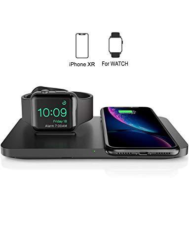 Seneo Dual drahtloses Ladegerät, Qi-Zertifiziert, 2 in 1 Schnelles kabelloses Ladegerät für iWatch Series 2/3/4 und New AirPods, 7.5W für iPhone XS/XS Max/XR/X/8/8P (Kein iWatch-Ladegerät)