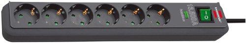 Brennenstuhl Eco-Line, Steckdosenleiste 6-fach mit Überspannungsschutz (mit Schalter und 1,5m Kabel - besonders stromsparend) Farbe: anthrazit