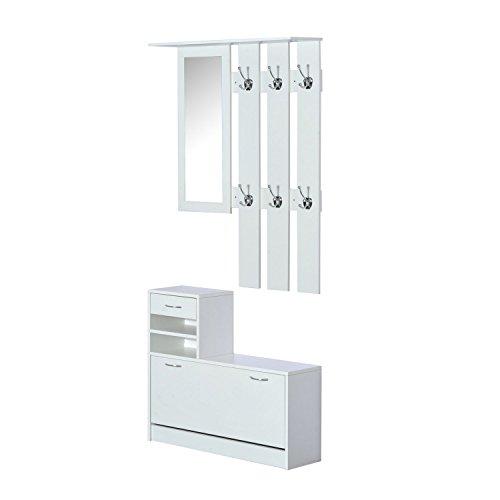 HOMCOM 3 in 1 Garderoben Set Garderobenpaneel Schuhschrank mit Spiegel 2 TLG Weiß