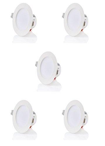 sweet led 5 X  Flaches Design IP44 5W 450 Lumen LED Einbaustrahler Flach | Warmweiß - Kaltweiß Flach | 230V | Rund | Bad Einbauspots Einbauleuchten Badleuchten