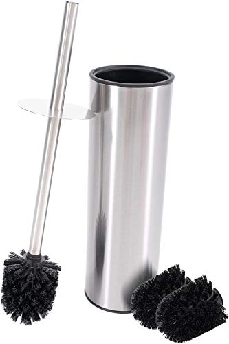 Bamodi Klobürste mit Behälter Edelstahl - Toilettenbürste montagefrei zum Aufstellen inklusive 2 Ersatzbürsten - WC Bürste mit Spritzschutz für trockene Hände (Grau)