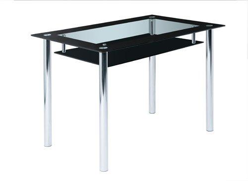 Design Esstisch aus Glas mit schwarzer Glasplatte und praktischer Ablageplatte, Esszimmertisch ist 110 cm breit und für klein Wohnzimmer geeignet.