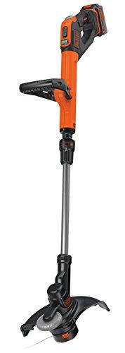 Black+Decker Akku-Rasentrimmer, Powercommand, EasyFeed (18V 4.0Ah, inkl. Akku und Ladegerät, 30 cm Schnittbreite) STC1840EPC, schwarz orange