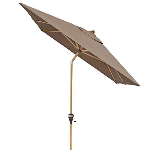 Doppler Alu Wood - Rechteckiger Sonnenschirm für Balkon und Terrasse - Edle Holzoptik - 300x200 cm - Greige