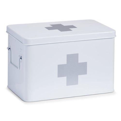 Zeller 18119 Medizin-box, weiß, Metall, ca. 32 x 19,5 x 20 cm