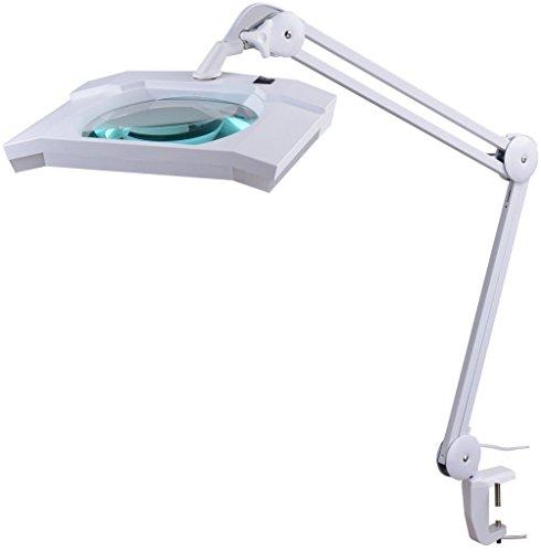 Komerci KML-9002 LED Kaltlicht Lupenleuchte Kosmetik Lupenlampe, 5 Dioptrien, dimmbar, Gelenkarm, weiß