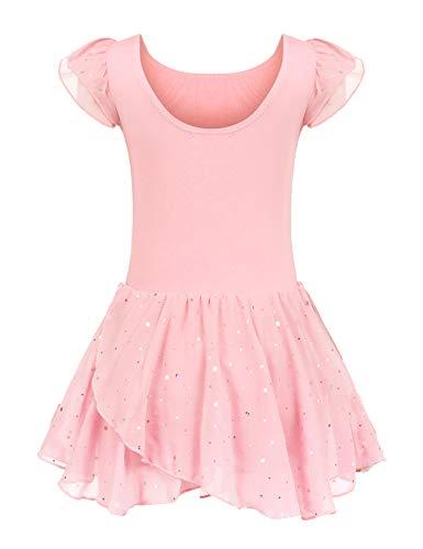 Kinder Ballettkleidung Ballettkleid Mädchen Kurzarm Baumwolle Balletttrikot Ballettanzug Tanzkleid Tanzbody mit Rock Tütü, 130, Rosa