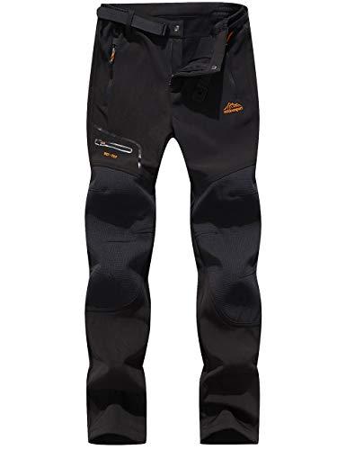 DAFENP Damen Wanderhose Outdoorhose Wasserdicht Softshellhose Winddicht Winter Warm Gefüttert Trekkinghose (XL, A Schwarz)