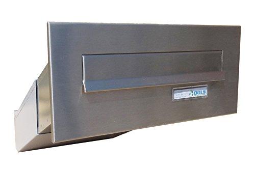 D-041 - Edelstahl Mauerdurchwurf Briefkastenanlage (variable Tiefe) mit Namensschild - Letterbox24.de