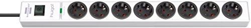 Brennenstuhl hugo! Steckdosenleiste 8-fach mit Überspannungsschutz (2m Kabel und Schalter, Gehäuse aus bruchfestem Polycarbonat) Farbe: weiß