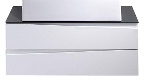 Cavadore Waschtisch Sharpcut-Bad / Weißer Badezimmerunterschrank mit weißer Front zum Aufhängen / mit grauer Glasauflage