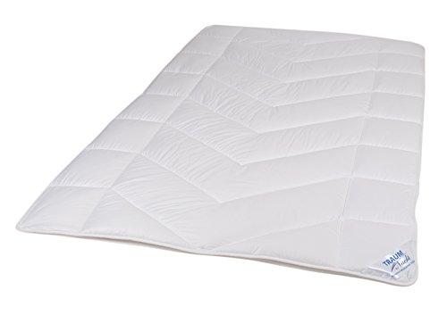 Traumnacht 5-Star Leicht, dünne und leichte Bettdecke, aus reinem Baumwolle-Satin, 135 x 200 cm, waschbar, weiß