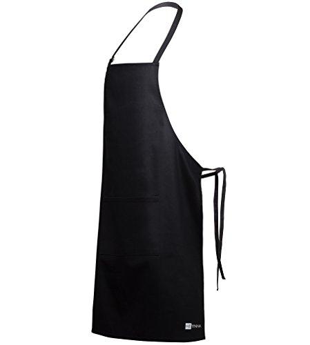 HEYNNA Premium Kochschürze / Küchenschürze 100% Baumwolle schwarz belastbar & einfach zu reinigen - perfekt auch als Grillschürze und Backschürze (schwarz)