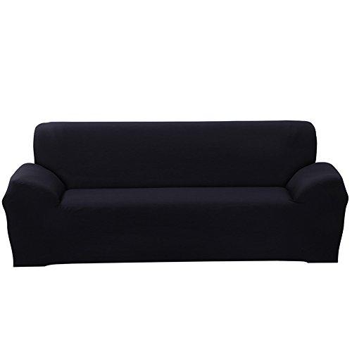 ele ELEOPTION Sofa Überwürfe Sofabezug Stretch elastische Sofahusse Sofa Abdeckung in Verschiedene Größe und Farbe Herstellergröße 235-300cm (Schwarz, 4 Sitzer für Sofalänge 220-300cm)