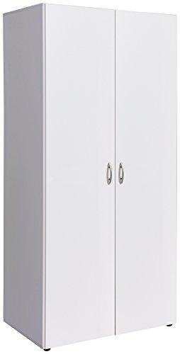 Stella Trading Base  2-türiger Kleiderschrank, Holz, weiß, 52 x 80 x 177 cm