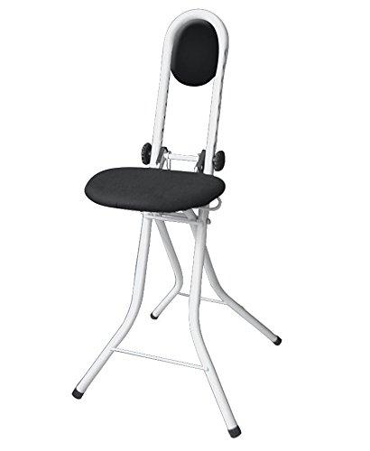 WENKO 4929121500 Stehhilfe Secura Weiß - Bügelhilfe, mit Rückenkissen, Stahl, 47 x 91.5 x 45 cm, Weiß