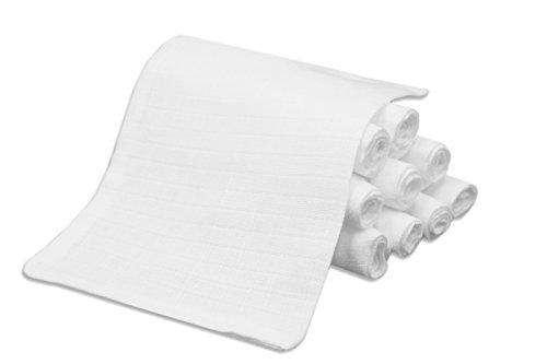 ZOLLNER 10er-Set Waschlappen / Waschhandschuhe / Babywaschlappen / Babytücher ca. 17x22 cm aus 100% hautsympathischer Baumwolle, Farbe weiß, schadstoffgeprüft, Serie 'Kiel-WH'