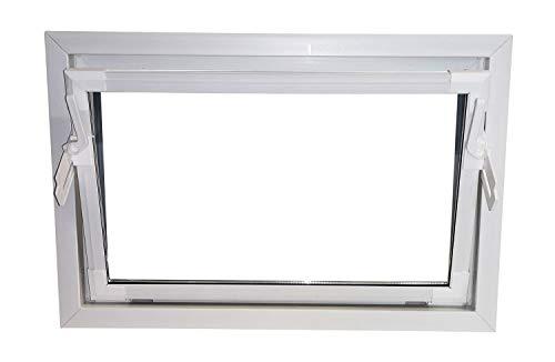 ACO 80cm Nebenraumfenster Kippfenster Isoglasfenster Fenster weiß Kellerfenster, Größe Kippfenster:80 x 40 cm