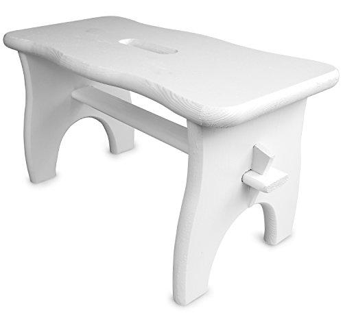 Stabile Fußbank mit Tragegriff aus FSC Zertifiziertem Holz - Kiefer Weiß Lackiert - ca. 38 x 19 x 21 cm - Grinscard
