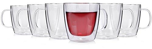 Sänger 6er Set 250 ml doppelwandige Teegläser mit Henkel Gläserset | Thermoglas Doppelwandig mit Schwebeoptik | Ideal geeignet für Heiß- oder Kaltgetränke wie Tee, Eistee, Säfte, Wasser, Cola, Cocktails