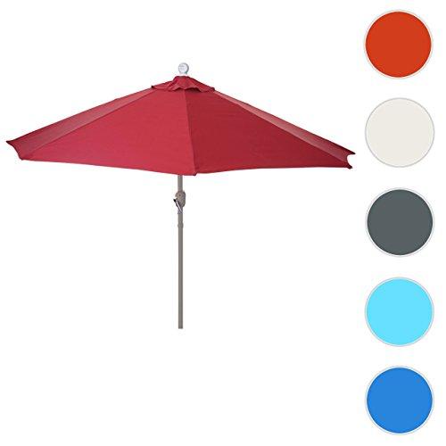 Sonnenschirm halbrund Parla, Halbschirm Balkonschirm, UV 50+ ~ 270cm bordeaux ohne Ständer