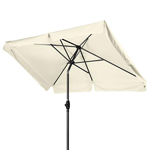 Derby Basic Lift NEO 210x140 - Kurbel Sonnenschirm ideal für den Balkon - Höhenverstellbar - ca. 210x140 cm - Natur