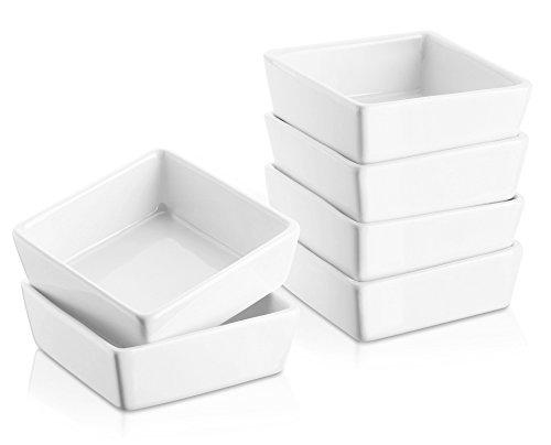 DOWAN 6er-Set Soufflé Souffle Förmchen Pastetenform Näpfchen Auflaufförmchen aus Porzellan, 9 cm Ø / 3,3 cm Höhe, für Fondants, Creme Brûlée oder Muffins, Weiß