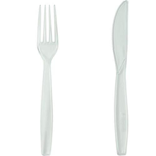 Pritogo 100-teilig, Plastikbesteck-Set, je 50 Gabeln und 50 Messer, BPA-frei, Extra Stabil und groß (19,5cm)