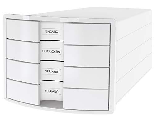 HAN Schubladenbox IMPULS 1012-12 in weiß Stapelbare Sortierablage mit 4 großen, Geschlossenen Schubladen für DIN A4/C4/ inkl. Beschriftungsschilder