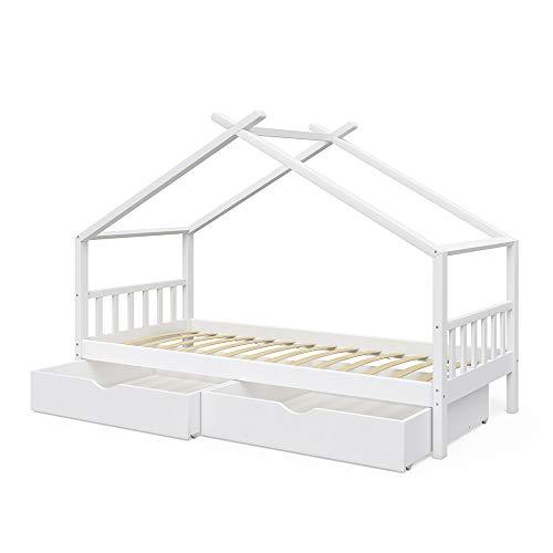 Vicco Kinderbett Hausbett Design 90x200cm INKL SCHUBLADEN Kinder Bett Holz Haus Schlafen Hausbett Spielbett Inkl. Lattenrost (Weiß lackiert)
