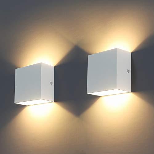 LED Wandleuchten, 2Pcs Indoor Modern Wall Wash Beleuchtung 6W LED Wandleuchte 3000K Wandbeleuchtung für Wohnzimmer, Schlafzimmer, Flur