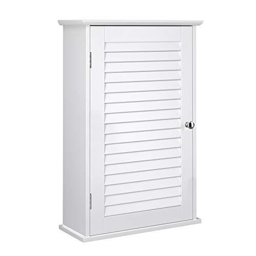VASAGLE Wandschrank, Badezimmerschrank, Medizinschrank mit höhenverstellbarer Regalebene, Badschrank mit Tür, 40 x 16 x 60 cm, Holz, weiß BBC24WT