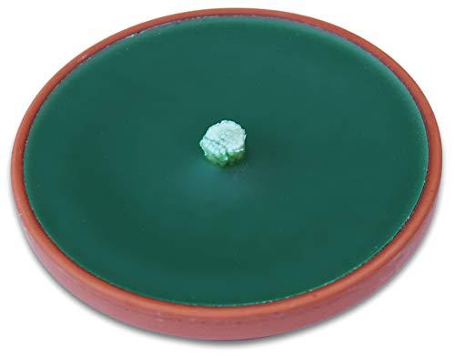 Lavalis 2X Terrakotta Flammschale, Windlicht, sturmfeste Outdoorkerze mit 7h Brenndauer 15 cm grün,