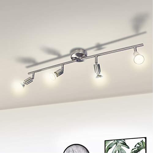 LED Deckenleuchte Küche, Wowatt 4 flammig Deckenstrahler LED Deckenleuchte Schwenkbar 4x 6W GU10 Spots Warmweiß Flur Küchenlampe 230V Deckenlampe Spotleuchte Metall Matt nickel Rostfei Verstellbar