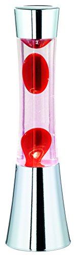 Große Lavalampe Chrom, Wasser Klar, Wachs Rot, inklusive Leuchtmittel, Gross