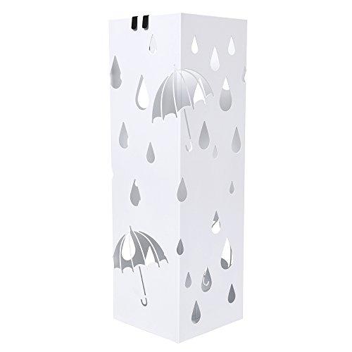 Songmics Schirmständer Regenschirmständer metall Wasserauffangschale und Haken werden verschenkt 49 cm weiß LUC49W