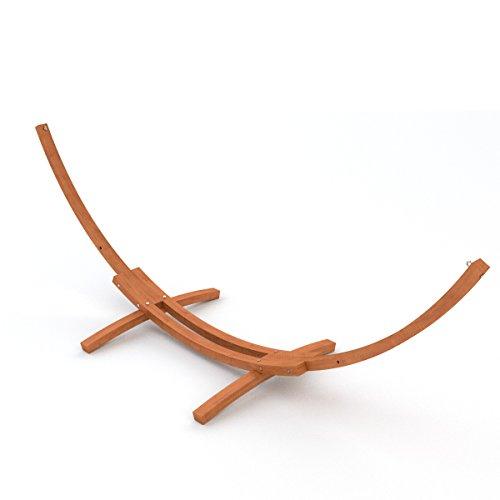 XL Outdoor Hängemattengestell 400 cm | Holz sibirische Lärche wetterfest | Gestell Madagaskar braun ohne Hängematte