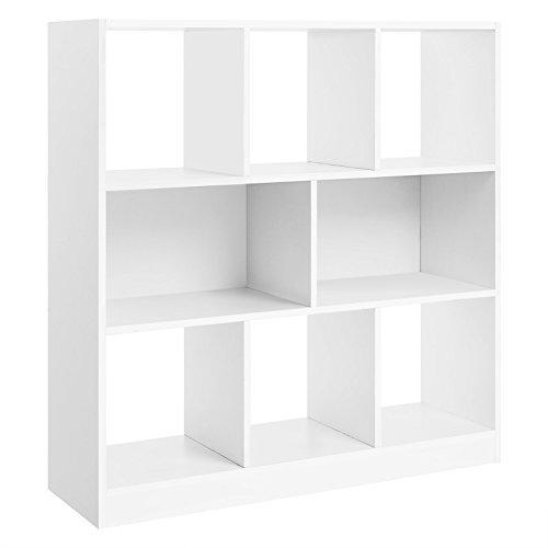 SONGMICS Bücherregal, Raumteiler Regal, Standregal aus Holz mit Offenen Fächern, Vitrine für Wohnzimmer, Schlafzimmer, Kinderzimmer und Büro, 97,5 x 100 x 30 cm (BxHxT), Weiß LBC52WT