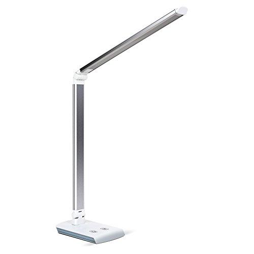 DECKEY 11W LED Schreibtischlampe Tischlampe dimmbare Tischlampe drehbare Bürolampe Leselampe Buchlampe Arbeitslampe 60LEDs (Silber)