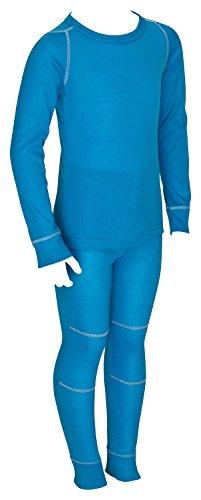 icefeld - atmungsaktives Thermo-Unterwäsche Set für Kinder - warme Wäsche aus langärmligem Oberteil + langer Unterhose: blau in Größe 134/140