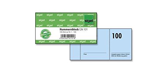 Sigel GN101 Nummernblock, 100 Bons (Nr. 1 - 100, 10,5 x 5 cm)